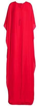 Oscar de la Renta Cape-Back Stretch Silk-Chiffon Gown