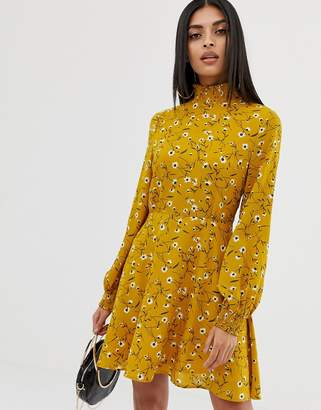 PrettyLittleThing high neck skater dress in floral