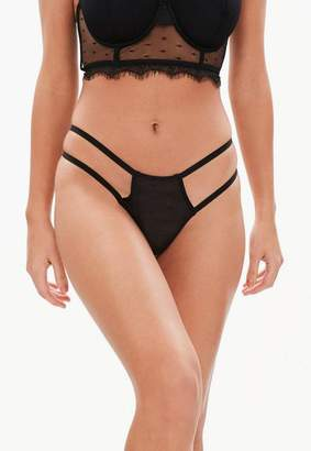 Missguided Black Double Strap Mesh Thong