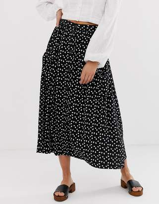 Asos Design DESIGN button front midi skirt with pockets in heart print
