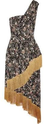 ADAM by Adam Lippes One-Shoulder Fringe-Trimmed Floral-Print Silk Midi Dress