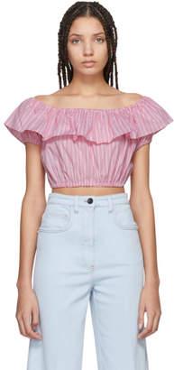 Miu Miu Pink Striped Off-the-Shoulder Blouse