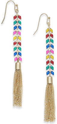 INC International Concepts I.n.c. Gold-Tone Multicolor Stone & Chain Tassel Linear Drop Earrings, Created for Macy's
