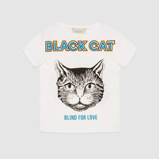 "Gucci Children's T-shirt with ""Black Cat"" print"