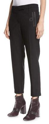 Brunello Cucinelli Monili-Scroll Cropped Wool-Blend Trousers $945 thestylecure.com