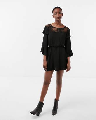 Express Tiered Ruffle Sleeve Lace Yoke Dress