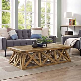 Modway Camp Coffee Table with Pine Wood Construction in Brown