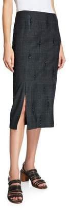 Brunello Cucinelli Glen Plaid Crystal-Embellished Pencil Skirt