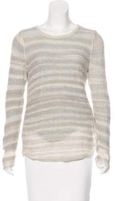 White + Warren Open-Knit Long Sleeve Top
