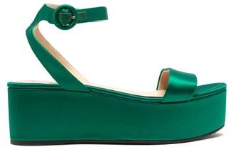 36b0e0b5163 Prada Platform Satin Sandals - Womens - Green