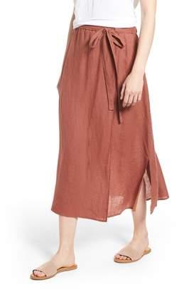 Eileen Fisher Faux Wrap Organic Linen Skirt