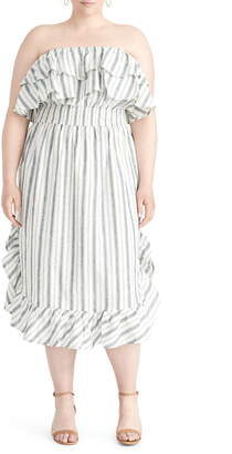 Rachel Roy Jacinita Ruffle Neck Stripe Strapless Dress