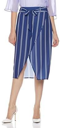 Suite Alice Striped Pencil Split Hem Tie Waist Pencil Skirt