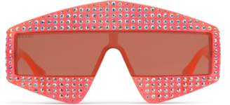 Gucci Rectangular-frame acetate sunglasses with crystals