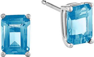 FINE JEWELRY Genuine Blue Topaz 14K White Gold Emerald-Cut Earrings