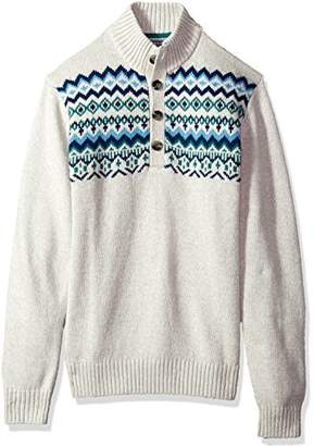 Izod Men's Harbor River Button up Sweater with Yoke Pattern