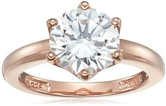 Swarovski Rose Gold Sterling Silver Zirconia Round Solitaire Ring
