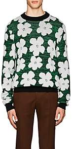 "Calvin Klein Men's ""Flowers""-Pattern Wool-Alpaca Sweater - Green"