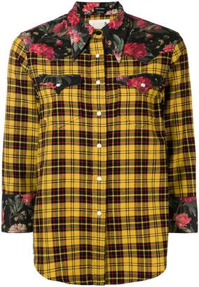 R 13 floral panelled plaid shirt
