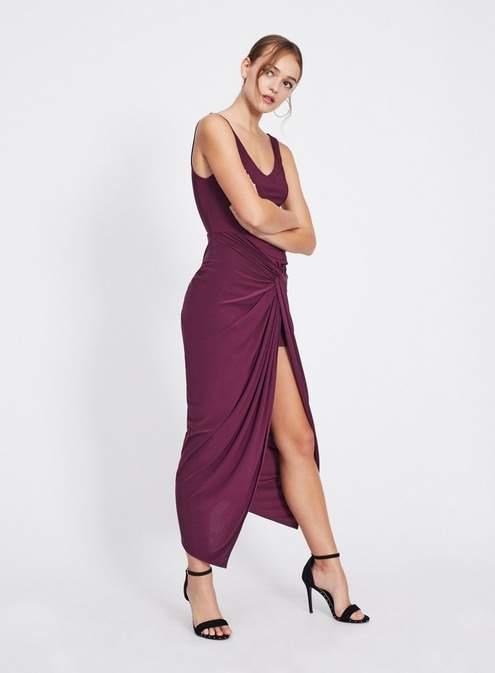 Purple twist front bodycon dress