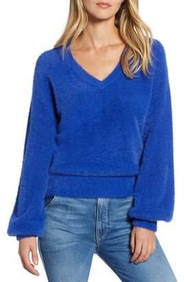 Halogen Fuzzy V-Neck Sweater