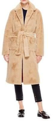 Sandro Flambe Faux Fur Coat