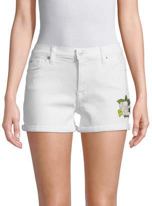 Hudson Jeans Floral Embroidered Denim Shorts