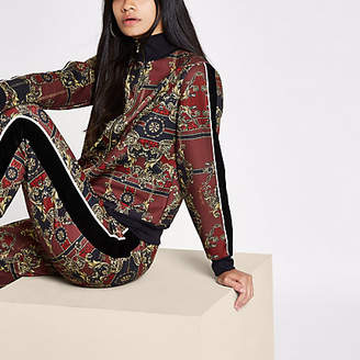 River Island RI 30 red scarf print tracksuit top