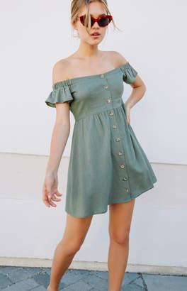 La Hearts Button Front Off-The-Shoulder Dress