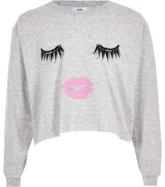 River Island Girls grey eyelash print long sleeve T-shirt