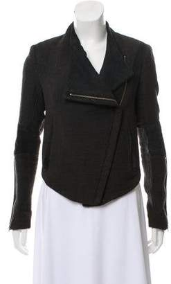 Helmut Lang Suede-Accented Wool Jacket