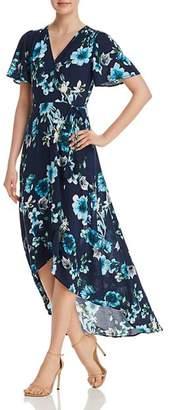 Cotton Candy Floral Print Maxi Wrap Dress