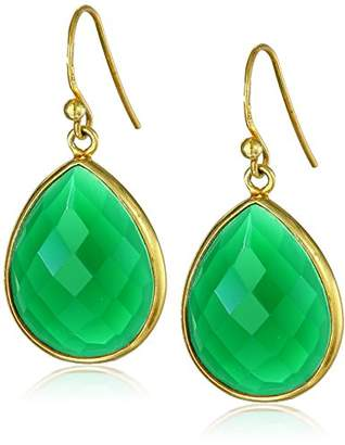 Gold-Plated Sterling Silver Faceted Onyx Teardrop Earrings