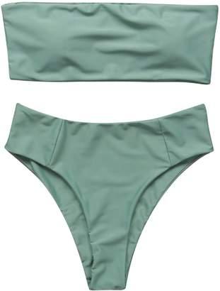00bf55581fc OMKAGI Women s 2 Pieces Bandeau Bikini Swimsuits Off Shoulder High Waist  Bathing Suit High Cut