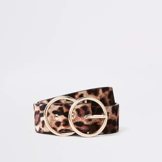 River Island Womens Beige leopard print double ring belt