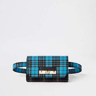 River Island Blue check lock front belted bum bag