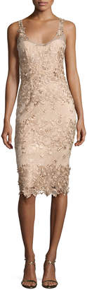 Marchesa Sleeveless Metallic Floral Sheath Dress, Beige