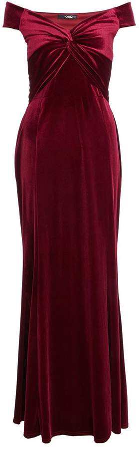 Berry Velvet Bardot Knot Front Fishtail Maxi Dress