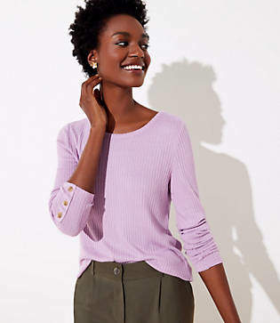 LOFT Petite Ribbed Button Cuff Long Sleeve Tee