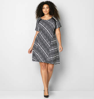 Avenue Abstract Colorblock Fit and Flare Dress