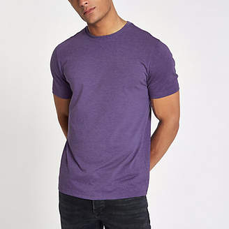 River Island Purple marl slim fit crew neck T-shirt
