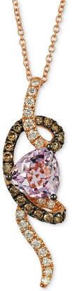 LeVian Le Vian Chocolatier Grape Amethyst (1-3/4 ct. t.w.) & Diamond (1/2 ct. t.w.) Pendant Necklace in 14k Rose Gold