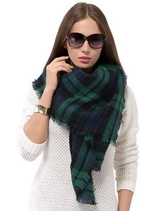 Fashionable Homax New Women's Cold Wheather Women Plaid Blanket Shawl Scarf-Green