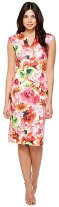 CeCe Floral Tropic Slitneck Scuba Sheath Dress Women's Dress
