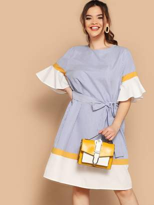 Shein Plus Colorblock Fluted Sleeve Striped Belted Dress