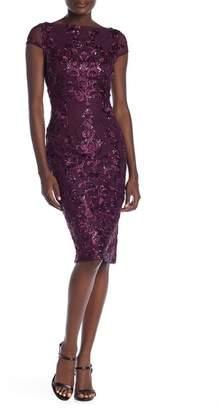 Marina Sequin Embroidery Midi Dress