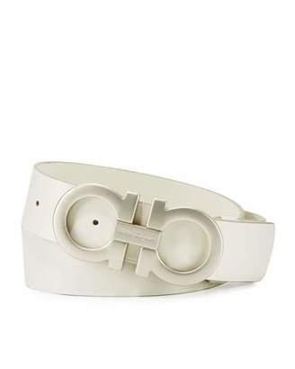 Salvatore Ferragamo Tonal Double-Gancini Buckle Belt, White $480 thestylecure.com