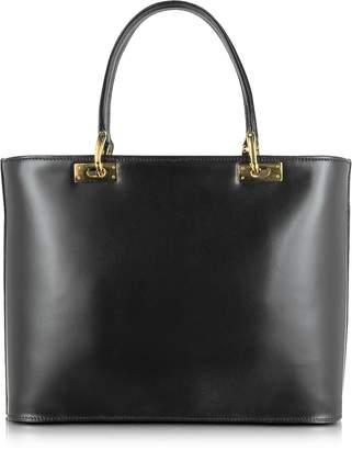 Fontanelli Polished Black Leather Tote Handbag