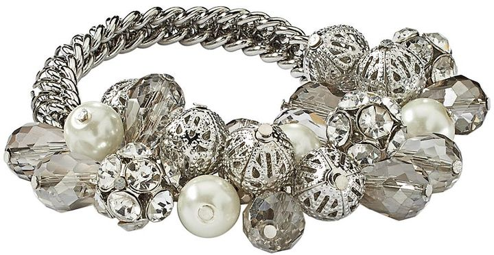 Simply Vera Vera Wang Silver Tone Simulated Pearl, Simulated Crystal & Bead Stretch Bracelet