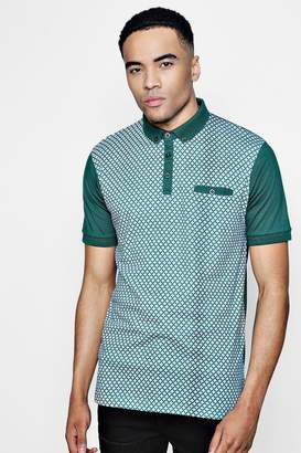 boohoo Geo Front Button Down Jersey Polo